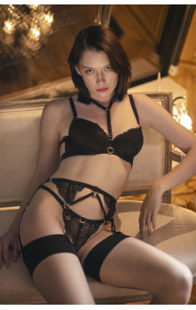 Agathe - Bra, Suspender-belt & Brazilian Set